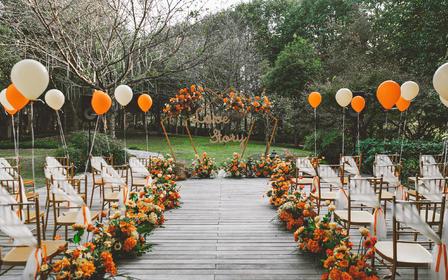 秋日的户外婚礼/橙色系精致草坪婚礼