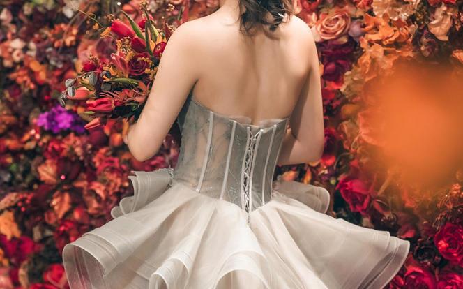 针记婚纱高级灰出门彩纱  清风