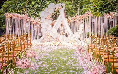 【三亚在四月海岛婚礼】粉色户外新中式风婚礼