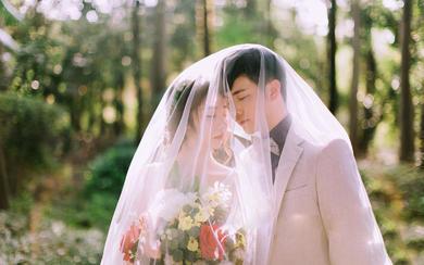 小清新森系婚纱照-外景实拍