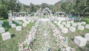 粉白色 小清新 户外婚礼