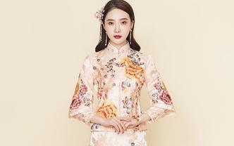 [木易杨婚纱]人气爆款中式精致手工粉色秀禾