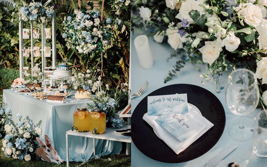 蓝色复古户外婚礼,大气清新别致