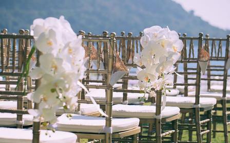 沿海地带的一场美丽婚礼现场
