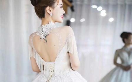 设计师纯手工定制款 长袖大圆摆奢华款主纱