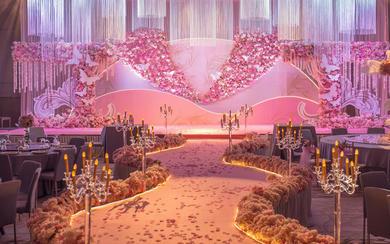 易瑾国际丨粉金色系丨纱幔鲜花