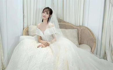 澳利莎BY锦色婚纱    香槟色一字肩大拖尾婚纱