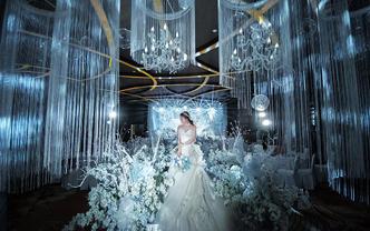 【喜堂婚礼】梦幻奢华蓝色花海吊顶布置·含四大金刚