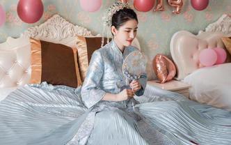 【Tian恬小妞】优雅~蓝色百褶秀禾服