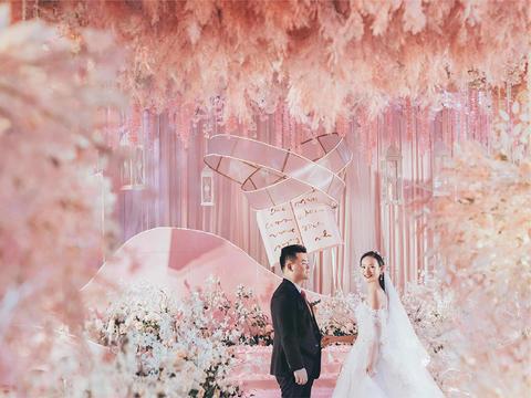 【鹿小姐婚礼】粉系网红温馨浪漫婚礼  送四大金刚