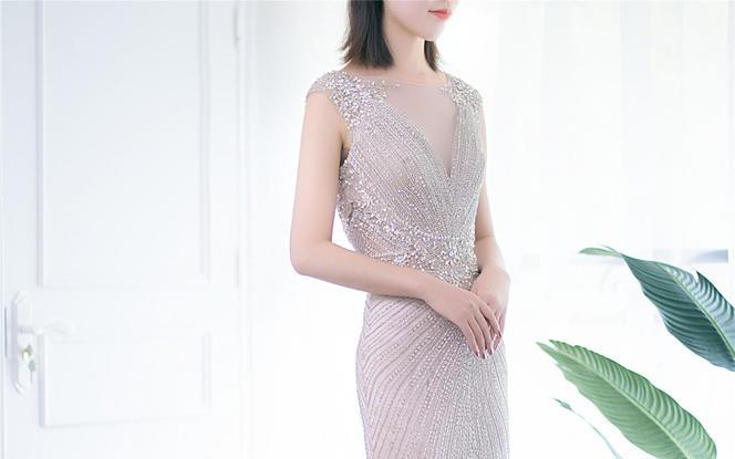 【品位婚纱】银色优雅礼服新娘敬酒服