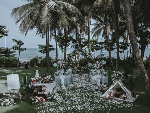私奔婚礼 三亚海边草坪婚礼 婚房场地+布置+四大