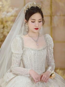 CICI2021AW款长袖婚纱燕尾设计气质套餐