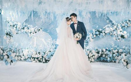 杭州婚礼策划/婚礼布置/奢华唯美蓝色系婚礼/花海