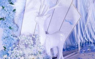 蓝白色·简约·麋鹿·唯美婚礼