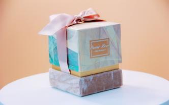 多彩丝绒蝴蝶结小方盒