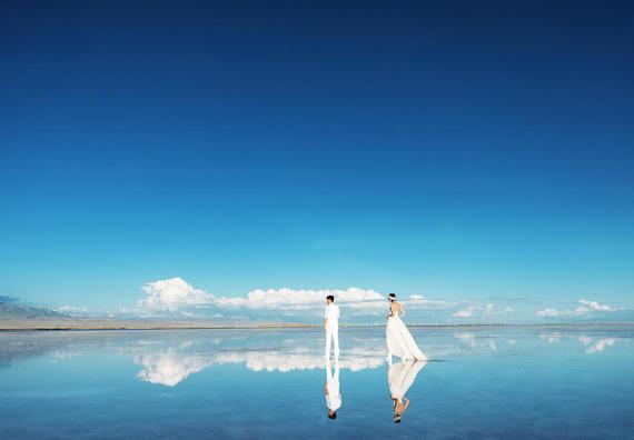 青海站天空之镜+小铁路+小火车+盐雕+草原+天路