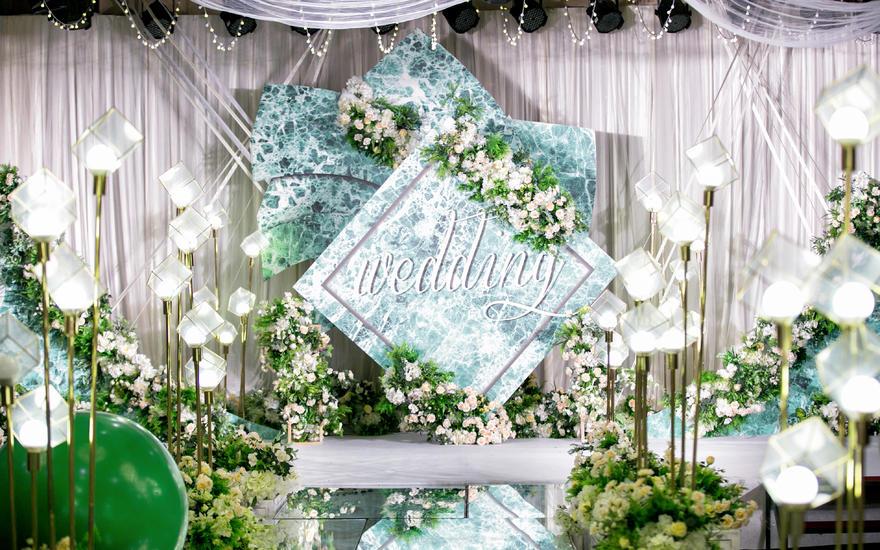 缔杰婚礼绿祖母简约大理石纹婚礼