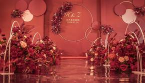 佰翔酒店婚礼,2020年大热,红橙色系镜面地毯