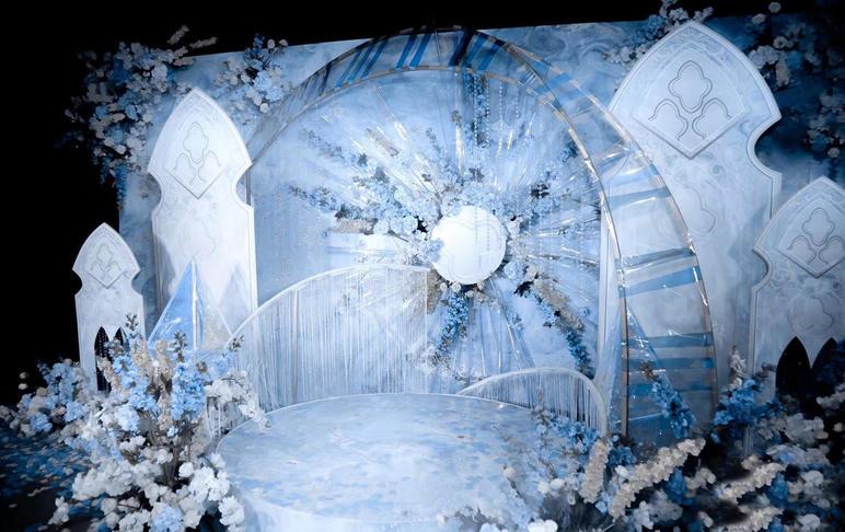 欧式蓝色水晶冰雪繁花大气婚礼