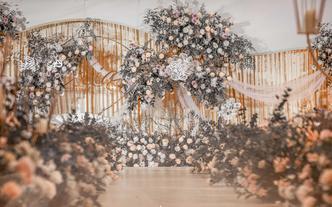 灰粉色系布幔花艺小清新质感婚礼