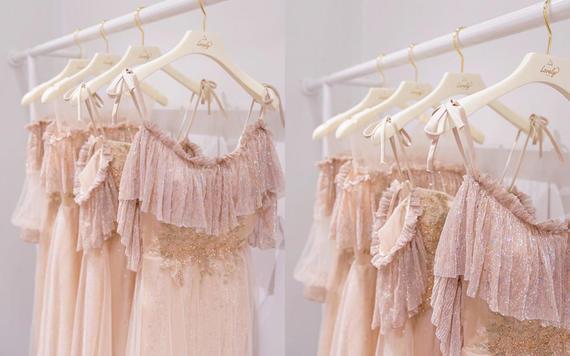 【奢华伴娘裙】莫兰迪粉波点伴娘裙2件