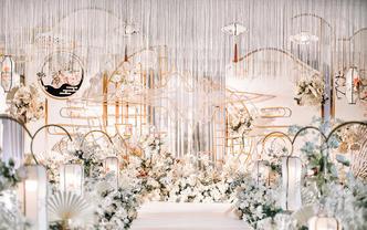 香槟色+新中式,这场婚礼造型我给满分