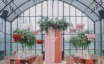 农场自然系橘粉色玻璃房婚礼
