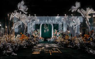 【薇时光婚礼】一场超气质的墨绿色主题婚礼