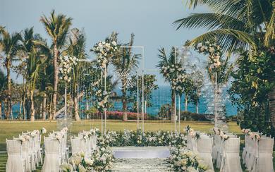 【三亚薇婷】白绿+香槟色|简约户外草坪婚礼