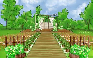 草坪婚礼参考-日系田园风婚礼
