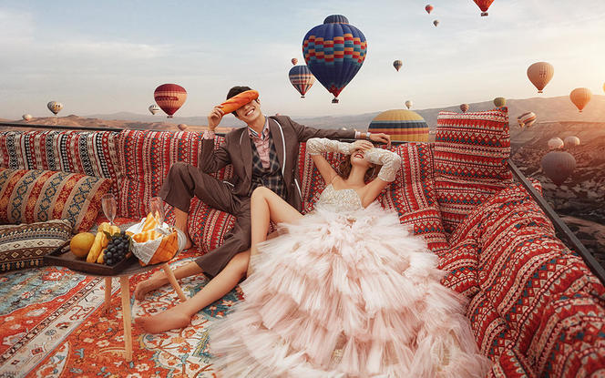 城市旅拍复古创意 小清新婚纱照一价全包+精修98