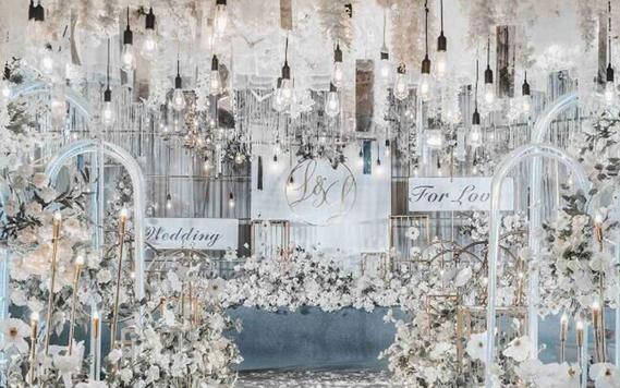 香槟银色轻奢婚礼,高端大气《将爱进行到底》