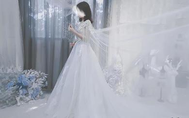 纯手工定制婚纱,仙女款长水袖