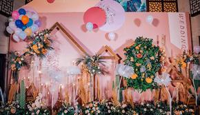星元素·黄粉色简洁小清新婚礼·含四大