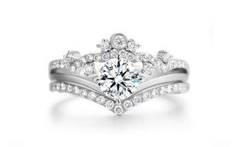 潮婚节特惠 梵誓-格蕾丝求婚结婚公主皇冠复古钻戒