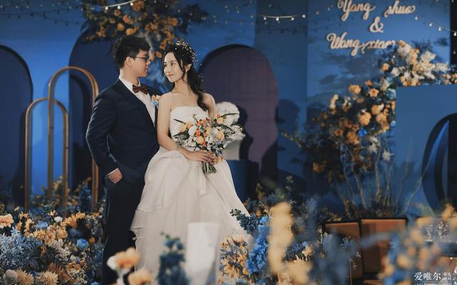 浪漫蓝色系室内婚礼——海口爱唯尔婚礼