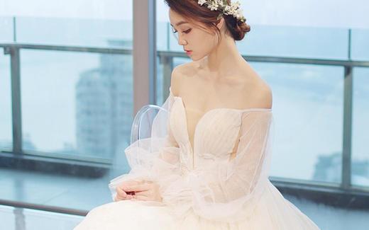 【Flipped婚纱】优雅天鹅蓬蓬袖主纱
