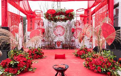 红色户外中式婚礼|时光婚礼