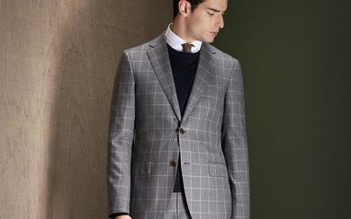 都市型男系列——浅灰格子西服