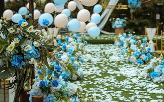性价比小清新户外世纪香颂酒店蓝色草坪婚礼