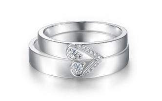 幸福久久爱心款结婚钻石对戒