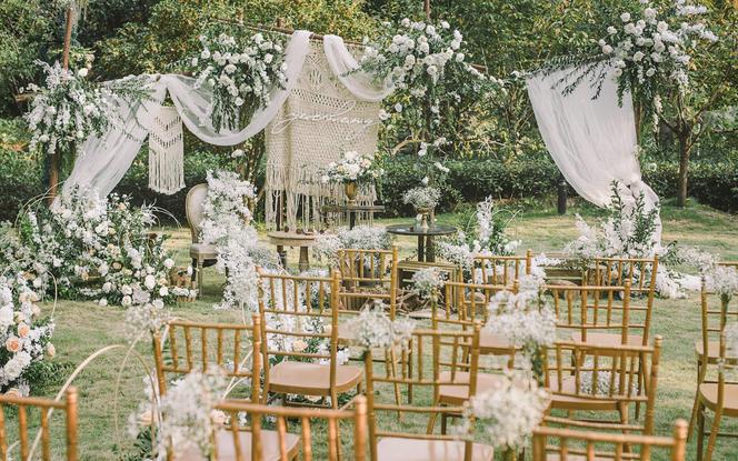 【伯妮】白绿小清新文艺森系户外婚礼草坪婚礼
