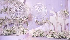 浪漫温馨紫色婚礼 热气球主题小型婚礼