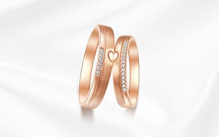 钻小娴-阳光-18K玫瑰金结婚情侣钻石戒指