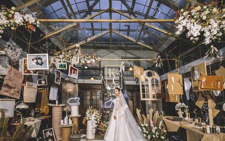 创意小众复古风婚礼,定制香槟金布景,拒绝千篇律
