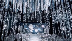 【水星记】蓝色水晶吊顶轻奢定制婚礼