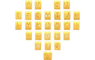 CLINDE黄金字母3D硬金转运珠