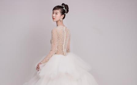 白色天鹅蛋糕裙,超减龄梦幻主纱