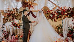 年终钜惠 橙红系主题婚礼 含四大金刚 含婚纱礼服